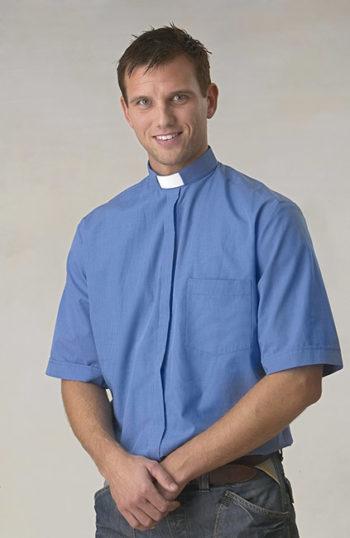 frimärksskjorta-blå